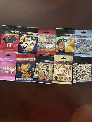 Disney Collectible Pin Packs 50 Pins Lot Of 10 Mystery Bags of 5 Pins Sealed NEW