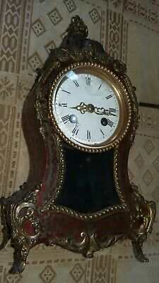 19th century.french gilt metal,bouelle marquetry mantle clock.stamped japy fils