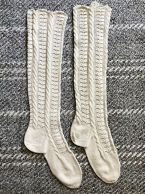 A Pair of Beautiful Authentic Antique Victorian Hand Knit White Socks Stockings