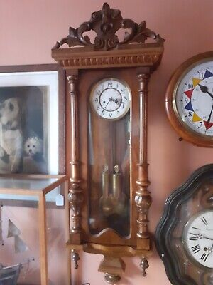 Antique 2 weight striking Vienna regulator wall Clock Mahogany case