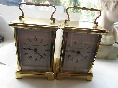 Pair Bayard Duverdrey & Bloque Brass   French 9 jewels  8 Day Carriage Clocks