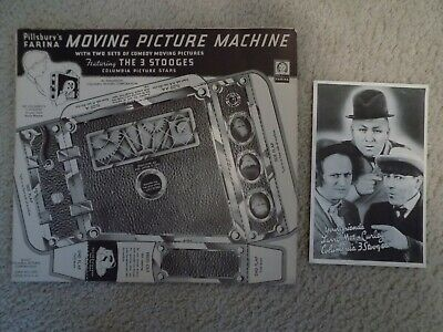 Vintage Three 3 Stooges - Pillsbury's Moving Picture Machine & Promo Card