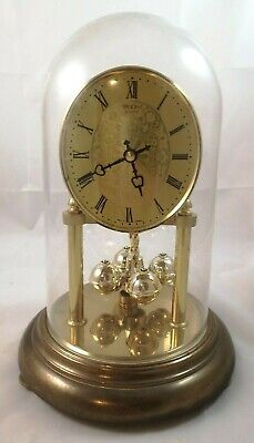 Gold Colour President Quartz Mantel Pendulum Clock With Plastic Dome - Working