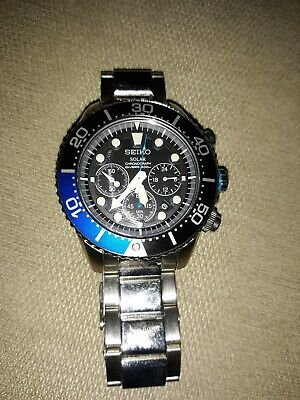 Mens Seiko Chronograph Solar Watch 200M