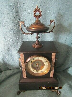 Antique 8 Day Black Marble Mantle clock with Brass mounts and Urn VGC GWO