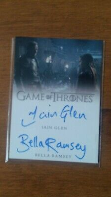 Game of Thrones Autograph Season 8 Iain Glen / Bella Ramsey Dual