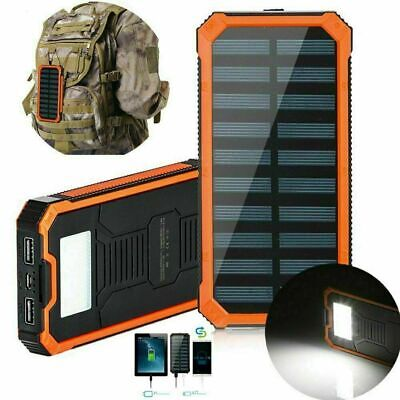 900000mAh Solar Power Bank Waterproof 2 USB LED Battery Charger For Cell Phone