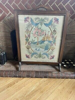 Vintage Retro wooden Glazed Tapestry Fire Screen Rather Stunning And Beautiful