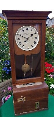 #009 *Extremely Rare* Early Gledhill Brook 13362 Fusee Time Recorder Wall Clock