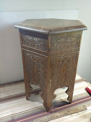 Antique arts & crafts mission oak tabouret or plant stand hand carved 6 sided pc