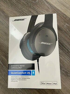 New Bose QuietComfort 25 Noise Cancelling Headphones black, wired, sealed/new.