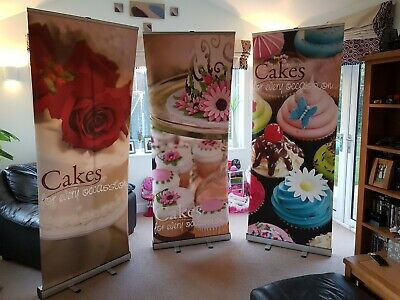 Cake Stall - 3 x Printed Roller Banner Event Exhibitions Free Standing