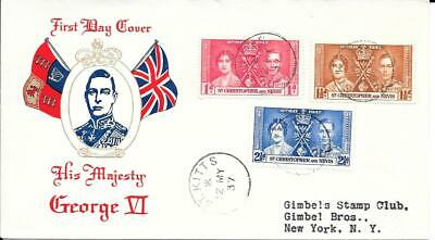 St Christopher And Nevis 1937 Coronation FDC