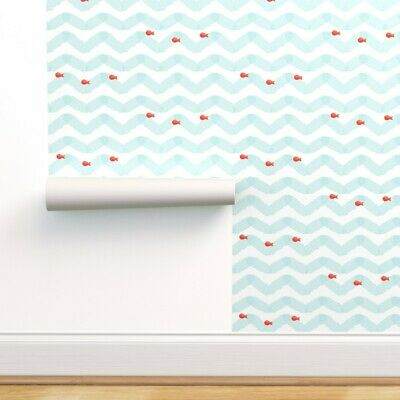 Wallpaper Roll Watercolor Whales Ocean Whale Sperm Blue Nautical 24in x 27ft