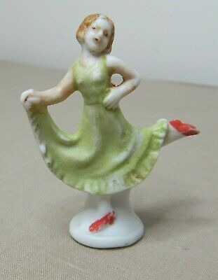Antique Art Deco Miniature Bisque Porcelain Girl Cosy Doll Figurine