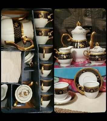 Vintage Yau Shing Laurel Shield Fine Porcelain Tea Set black cosmic rose w/ gold