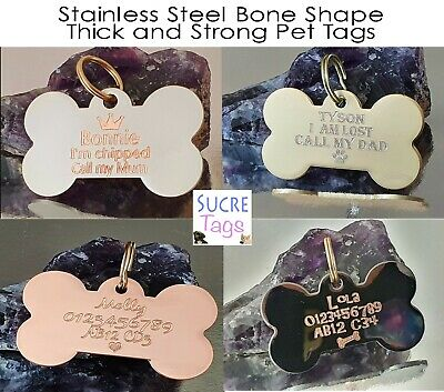 Double Side Engraved Thick Bone Shape Name Disc Personalised Pet Dog Cat Tag