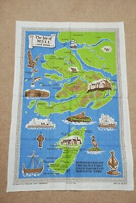 Isle Of Mull and Iona Tea Towel, New, Cotton, Illustrated Map.