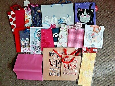 Selection of Birthday, Christmas & Other Gift Bags (Used) & 4 (New) Bottle Bags