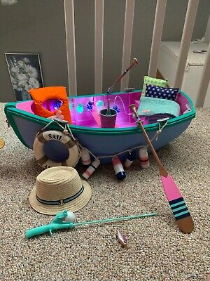 """NIB Our Generation ROW YOUR BOAT SET 18/"""" DOLLS REAL LIGHTS *RETIRED /& SOLD OUT"""