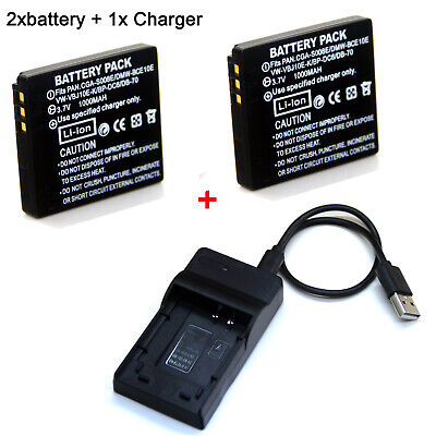 CGA-S008E Battery Charger Panasonic DMW-BCE10E //DB70 Lumix DMC-FX33 FX55 FX36