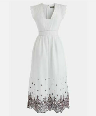 NEW J Crew Point Sur Flutter Sleeve Embroidered Midi Dress White Floral SZ 0 XS