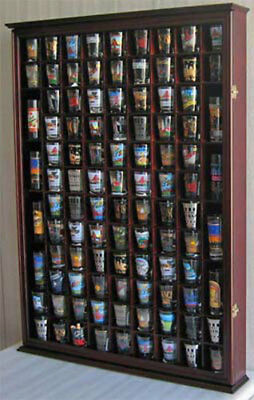 100 Shot Glass Display Case Wall Cabinet Shadow Box,  Mahogany Finish, SC15-MAH