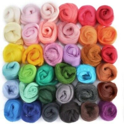 50g Multi Color Fibre Wool Roving Needle Felting Dyed Spinning Sewing Trimming