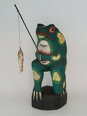 Balinese Handcrafted Wooden Frog Toad Mirror Indonesian