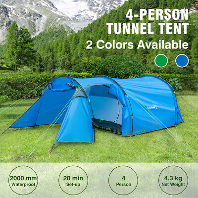 3-4 Man Person Family Tunnel Tent Canopy Waterproof Camping Hiking Shelter W//Bag