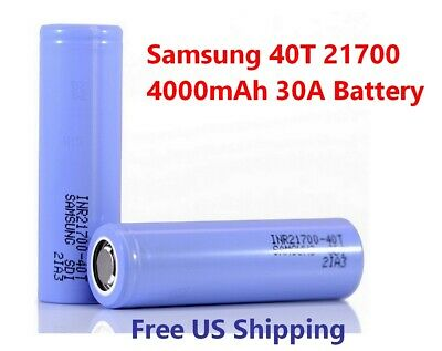 Samsung INR 21700 40T Rechargeable 4000mAh 30A High Drain Battery Flat Top NEW *