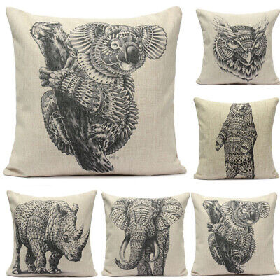 Cotton Linen Animal Pattern Throw Pillow Case Sofa Bed Cushion Cover 11 82 Picclick