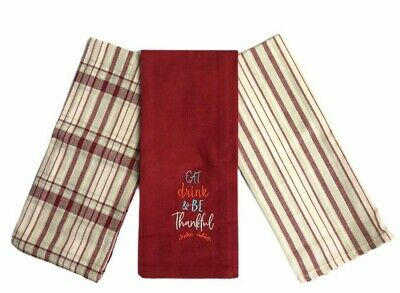 Details about  /Fall Kitchen Tea Towel Be Thankful Autumn Harvest Thanksgiving  Set of 3