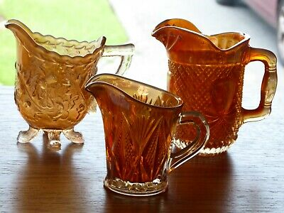 Three Vintage Carnival Glass Jugs Creamers Sowerby Marigold Sunglow
