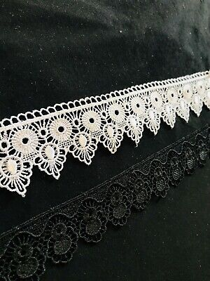 White and black shuttle GUIPURE lace//trim 3-4inch wider  just in £2.50//meter