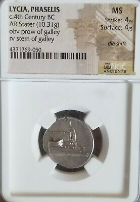 Lycia, Phaselis Stater 4th Century BC Galley NGC MS 4/4 Ancient Silver Coin