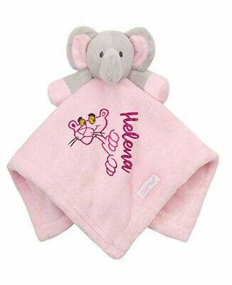 Personalised Name Pink Panther Baby Blanket Cartoon Embroidered Comforter Gift