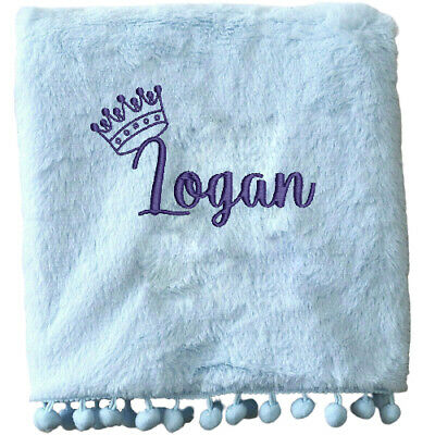 Personalised Pompom Baby Blanket Name Prince Princess Fluffy New Born Birth Gift