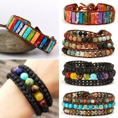 Chakra Bracelet Jewelry Handmade Natural Stone Pearl Beads Leather Multicolored&