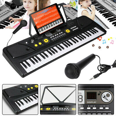 61 Key Music Electronic Keyboard Electric Digital Piano Organ with Mic + Stand