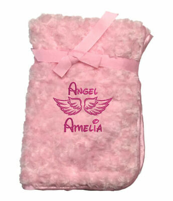 Personalised Blanket Angel Embroidered Any Name New Born Baby Gift Comforter