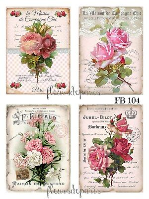 ~ NEW ~ Shabby Chic Vintage French Pink Roses 4 SMALL Prints on Fabric FB 709 ~