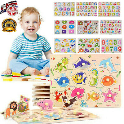Wooden Puzzle Baby Kids Toddler Jigsaw Numbers Alphabet Letters Educational Toys