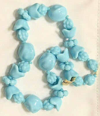 16 pcs Robin/'s Egg Blue Glass Macrame Craft Jewelry Beads Large 25mm Oval VTG