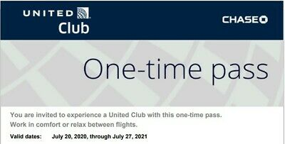 United Airlines Club Lounge One Time Passes EXPIRES July 27 2021