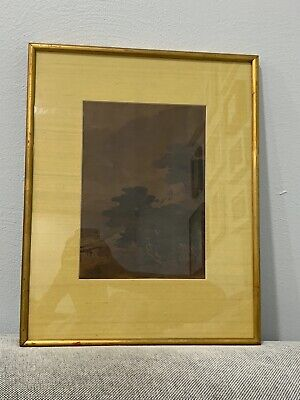 Antique Chinese or Japanese Watercolor Painting Trees Landscape & Figure