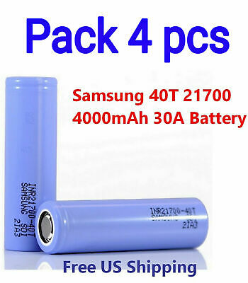 4 pcs Samsung INR 21700-40T Rechargeable 30A High Drain Battery flat top - New