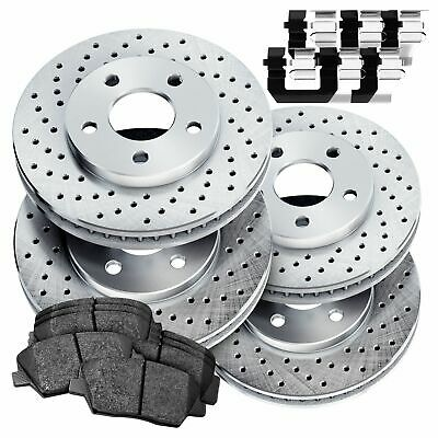 Fit 2012-2014 Ford Mustang Front Rear PSport Drilled Brake Rotors+Ceramic Pads