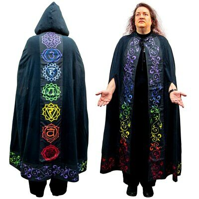 Chakras Black Cotton Cloak Ritual Garb