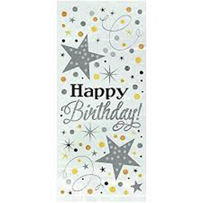 Happy Birthday Coloured Cellophane Bags Party Bag Gift Loot Sweet Birthday Cello